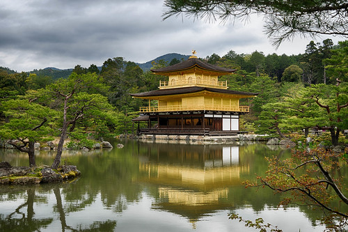 japan temple golden kyoto day cloudy kinkakuji hdr goldenpavilion shariden