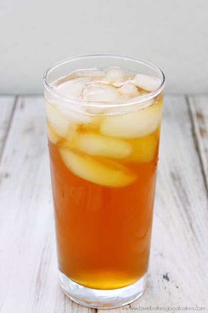 Mango Sweet Tea in a glass with ice.