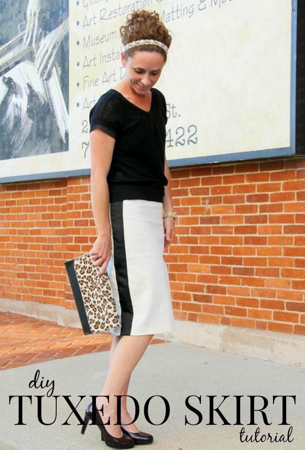 how to make a diy tuxedo skirt via Kristina J blog