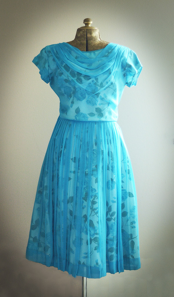 Vintage Medium Blue Tulle Dress with White and Blue Rose Underlay