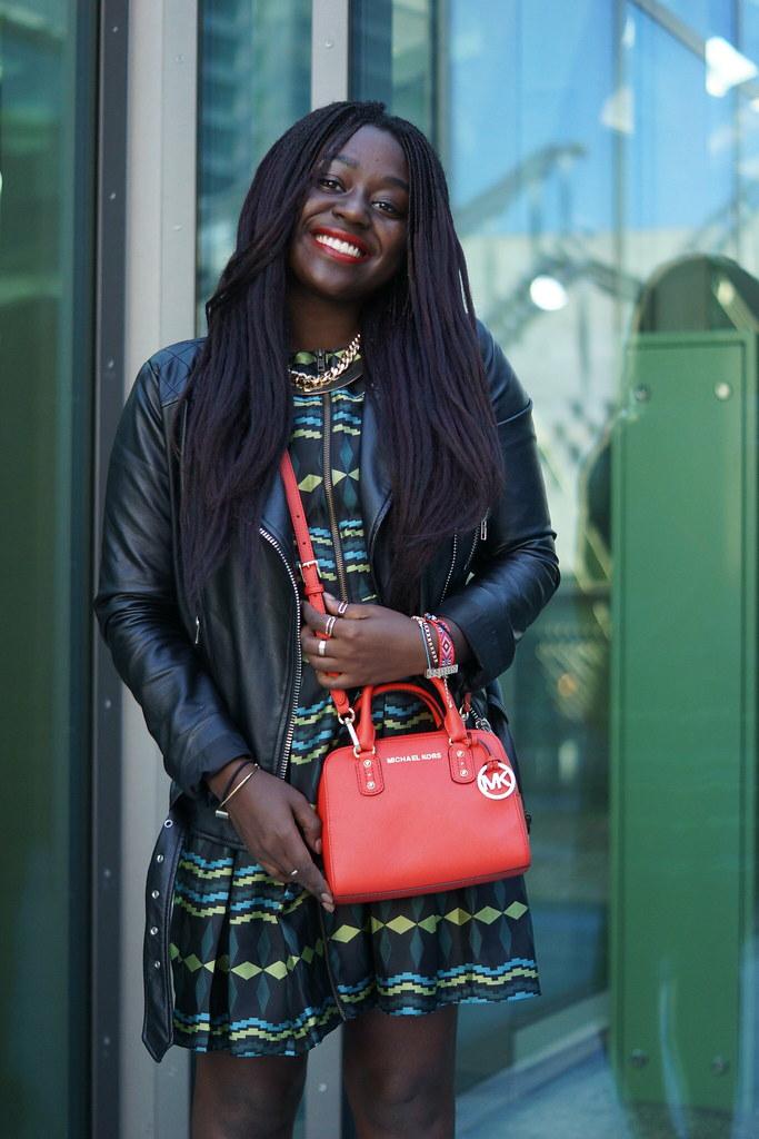 Lois Opoku green dress Michael Kors bag lisforlois