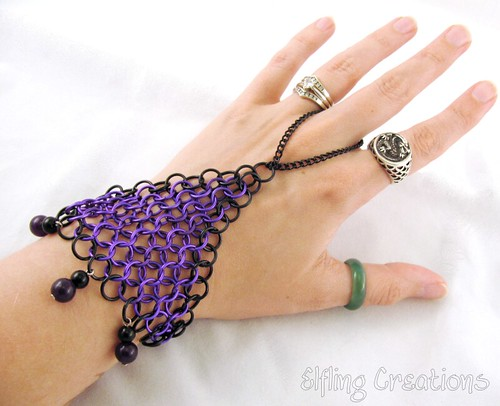 Purple and Black Chainmaille Hand Flower