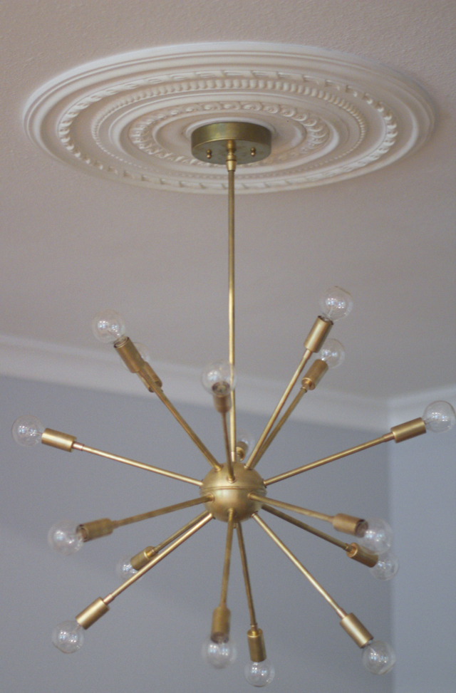 Raw Brass Affordable Sputnik Chandelier