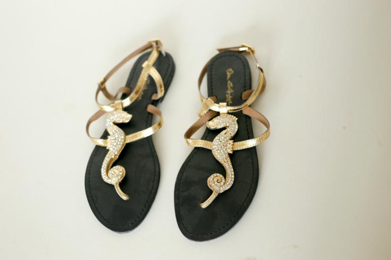 gouden sandaaltjes met zeepaardjes