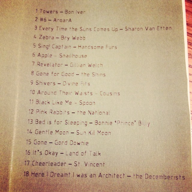 Track list from the mix I gave @hallwayorchard in case you ever feel like being sad.