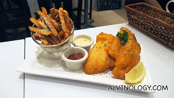 Signature beer-battered fish and chips