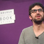 Mark Watson on stage at the Edinburgh International Book Festival |