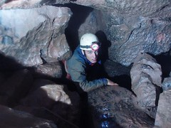 Jamie in the Cwm Dwr boulder choke Image
