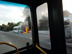 Highway 17 bus fire at Hamilton Campbell, CA