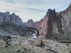 Yesterday, our work retreat headed out to Bend for the night, to stay at a yurt at Tumalo State Park. On the way, we stopped and visited Smith Rock. It was beautiful!
