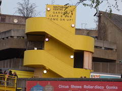 Southbank Centre's Winter Festival - Royal Festival Hall - yellow outdoor stairs