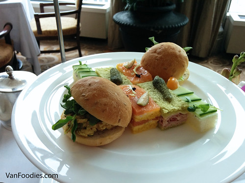 Chicken Curry Sandwich, Smoked Salmon & Egg Salad Caviar Sandwich, Smoked Gouda and Ham, Cucumber Truffle Cream Sandwich
