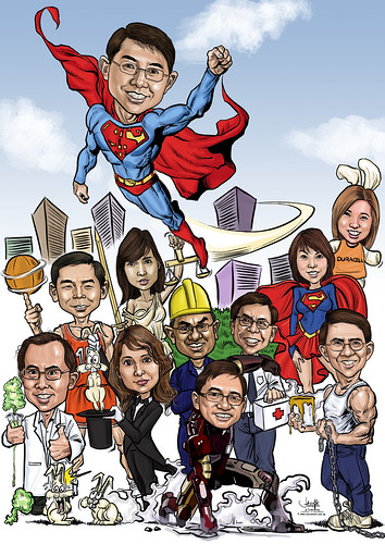 digital group caricatures for Dow Chemical Pacific