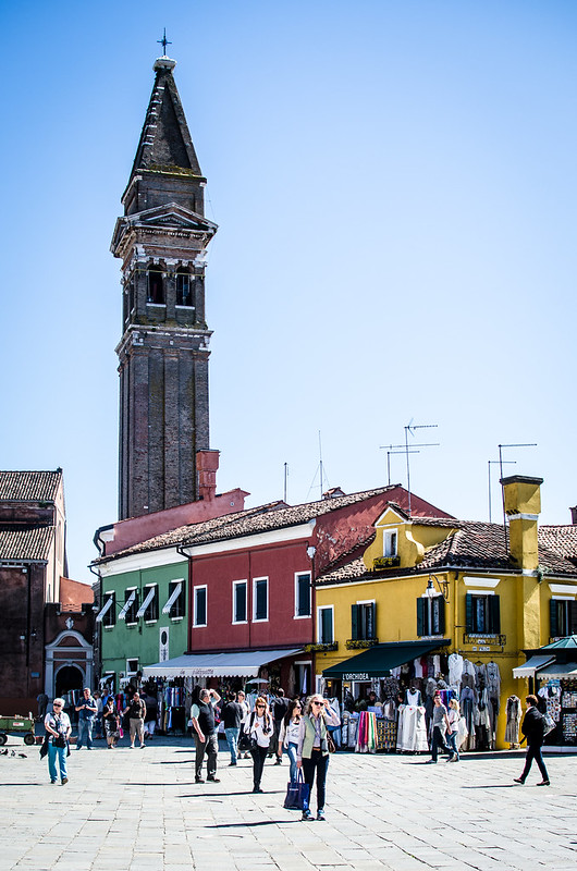 The campanile at the main church on the island of Burano, leans just like the tower of Pisa.
