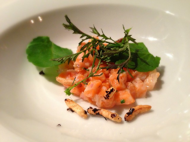 Tartar of salmon belly w puffed wild rice at The Daniel O'Connell, Adelaide Australia