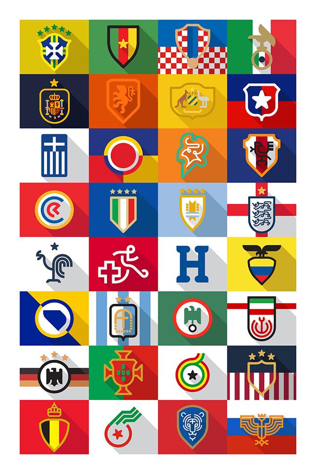 Minimalist 2014 World Cup Crests