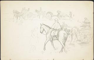 Rough sketch of horse-drawn artillery, military wagons, and soldiers in transit [Sketchbook 3, folio 36r] / Croquis de soldats en déplacement et de pièces d'artillerie tirées par des chevaux et chariots militaires [Carnet de croquis 3, folio 36r]