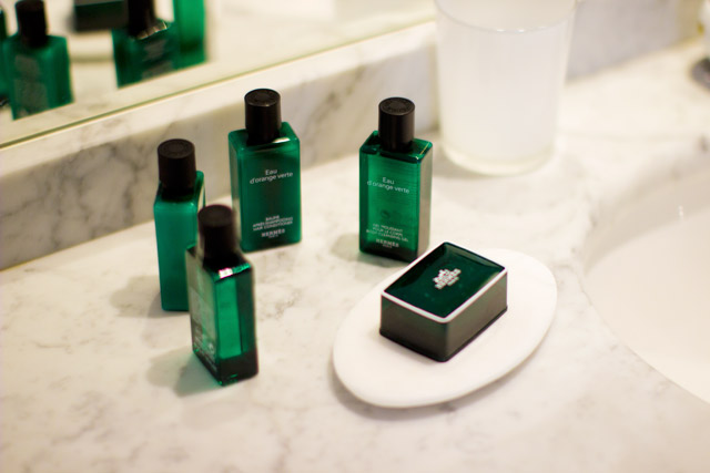 Hermès beauty products in a hotel