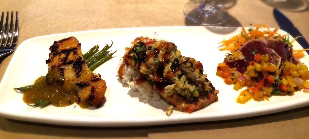 Bonefish Grill- Ocean Mixed Grill: Chilean Sea Bass, Wild Pacific Salmon, Ahi Tuna