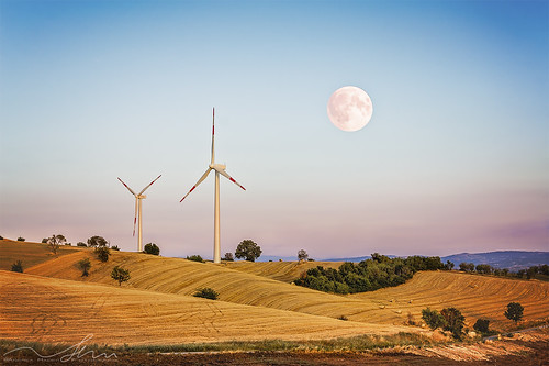 blue sky panorama moon colors yellow landscape wind natura moonlight paesaggi grano greatphotographers aemmedesign