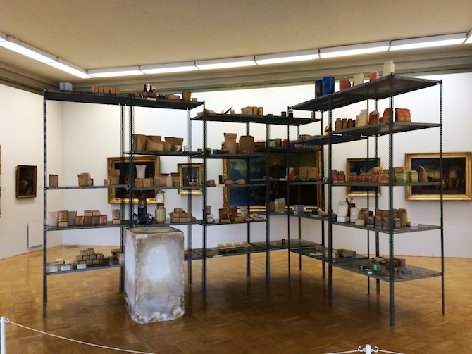 Joseph Beuys, Wirtschaftswerte 1980.  Collection S.M.A.K., Gent, Belgium. Installation view, MANIFESTA 10, Winter Palace, State Hermitage Museum, 2014.