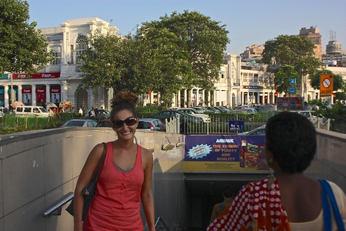 Lina in front of the Delhi subway... Olga's favorite method of transport