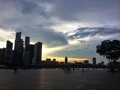 Sunset over Marina. at Marina Bay Sands Boardwalk