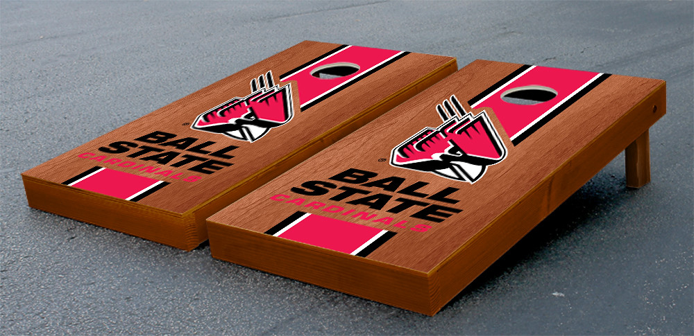 Ball State Cardinals Cornhole Bag Toss Game Set Stained Striped