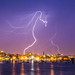Lightning over downtown Portland Maine