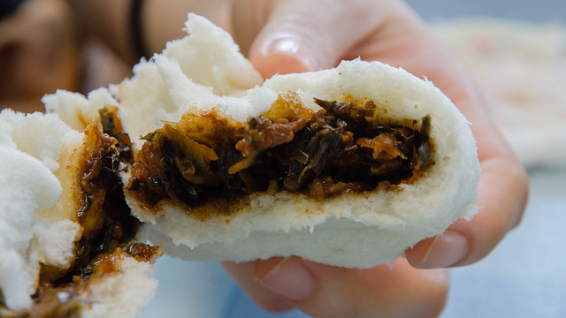 The mui choy pau (preserved vegetable) at Perniagaan Pau - Hai Yew Heng, Tanjung Sepat