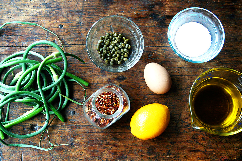 Garlic Scape Aioli ingredients