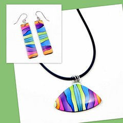 polymer clay Rainbow Pendant & Earrings