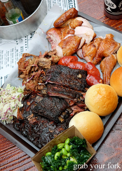 American barbecue meats at the Oxford Tavern, Petersham