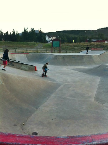 Mary takes Milla for a skate at Silverthorne Rec Center Skate Park