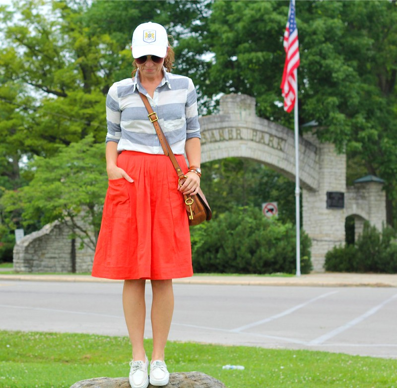 how to style orange midi skirt via Kristina J blog