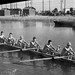 Harvard crew training on the 2000m Long Beach, CA., Olympic Marine Course, July 5, 1933, preparing to compete with Yale, Cornell, California, Washington, and UCLA in the National Intercollegiate Regatta championship