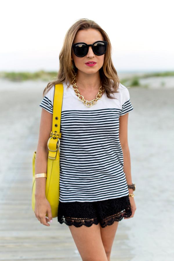 Crochet Shorts + Striped Top