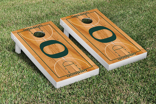 Oregon Ducks Cornhole Game Set Basketball Court Version