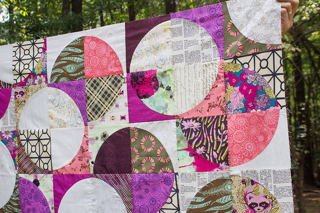 Closeup Drunkard's Path Quilt Top