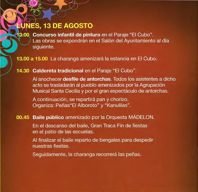 Programa Fiestas de San Lorenzo Año 2012