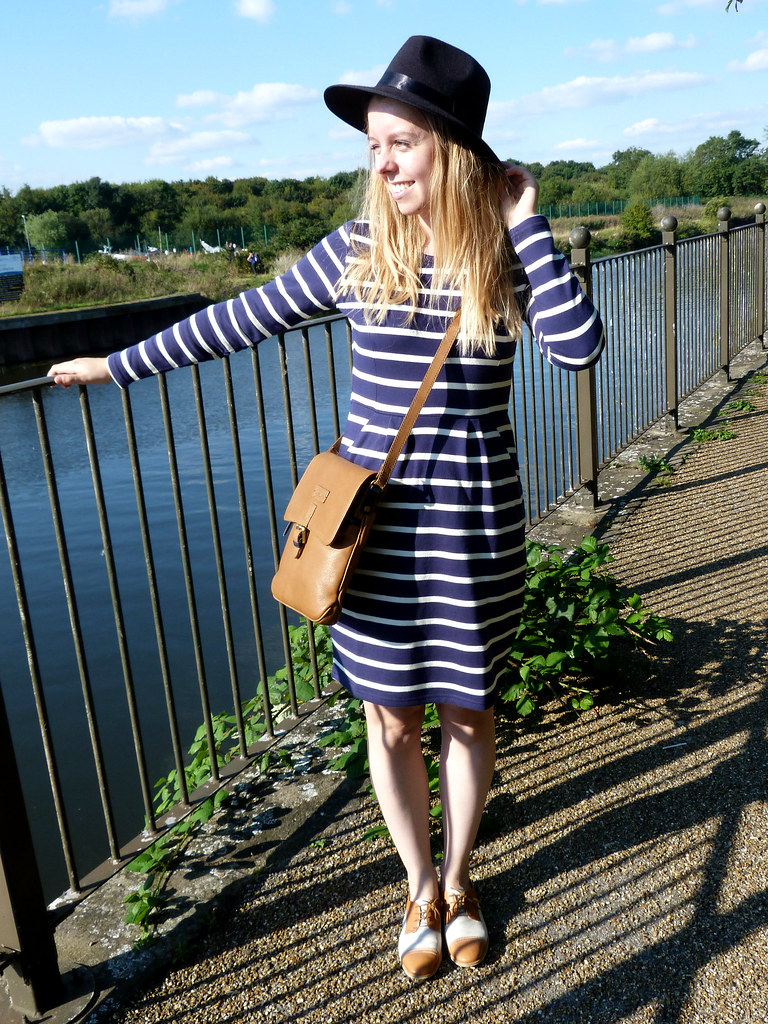Joules striped dress fashion blogger outfit