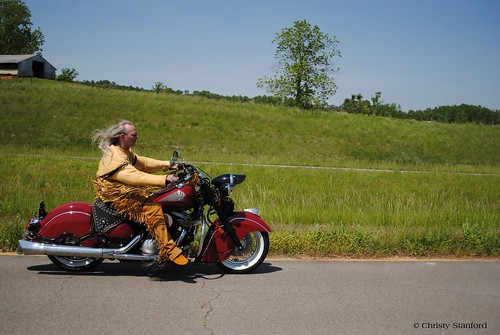 Native American on an Indian Motorcycle