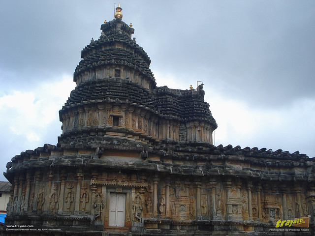 Southern Side view of Vidyashankara Temple, in Sringeri, Chikkamagalur district, Karnataka, India