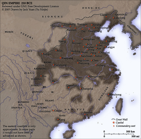 Map of Qin Empire, 210 BC