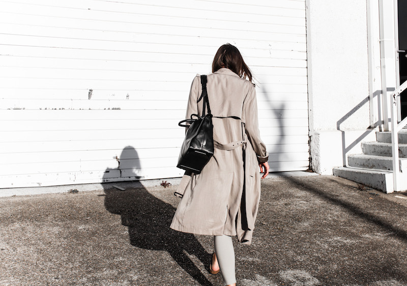 modern legacy fashion blog Australia fall Zara silky trench coat street style neutrals Bassike Birkenstock Madrid Alexander Wang bag (8 of 14)