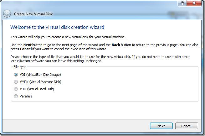 creación disco virtual