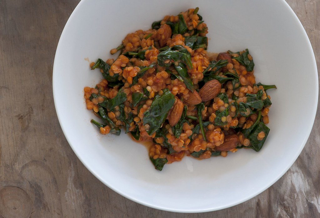 red lentils with tomato & spinach
