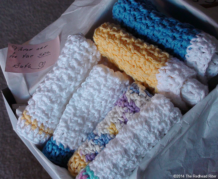 box of crocheted cotton facecloth 2
