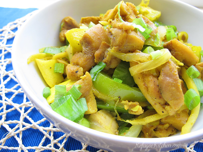 Cha K'Ney Sach Moun - Ginger Chicken w/ Yellow Squash and Bell Peppers