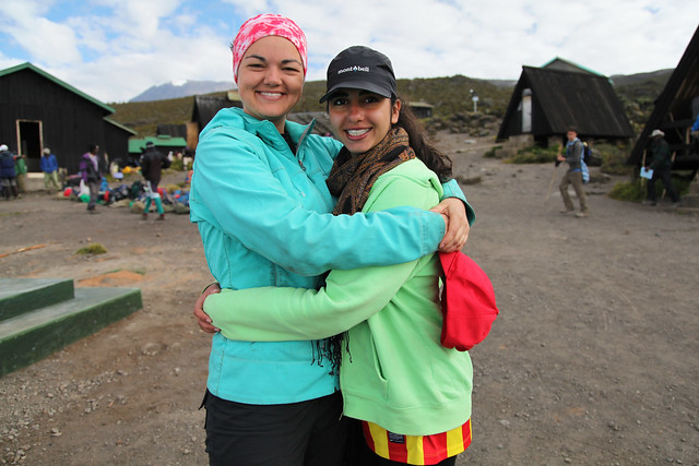 Lindsay and Anat are happy to head to lower altitudes (Mt. Kilimanjaro, Tanzania)